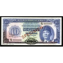 Republik Indonesia Serikat, United States of Indonesia Specimen Banknote