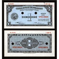 Central Bank of the Philippines 1949 issue Specimen Essay Banknotes.