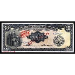 Central Bank of the Philippines, 1949 ND Issue De La Rue Specimen.