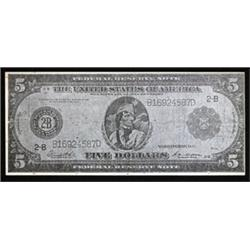 """U.S. $5 FRN Look-alike Advertising Note for Polish Company """"Tajemniczy Woreczek""""."""