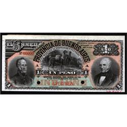 Banco De La Provincia De Buenos Aires 1885 Regular Issue Specimen Banknote.
