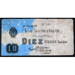 Banco y Casa de Moneda de Buenos Ayres 1864 Transitional Issue.