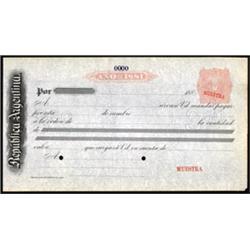 Republica Argentina Revenue Imprinted Check, Draft or Bill of Exchange Specimen.