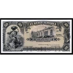 El Banco Agricola Trial Color Uniface Specimen Banknotes.