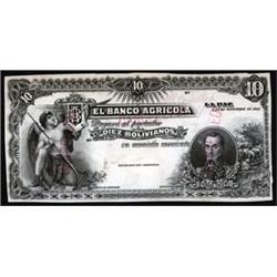 El Banco Agricola Uniface Trial Color Specimen or Proof Banknotes.