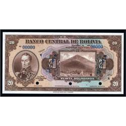 El Banco Central De Bolivia Specimen Banknote Quartet.