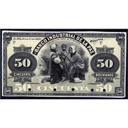 El Banco Industrial De La Paz Proof Banknote.