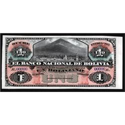 El Banco Nacional De Bolivia 1877 Sucre Issue Proof Banknote.