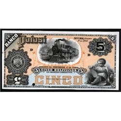 El Banco Potosi 1887 Issue Proof Banknote.