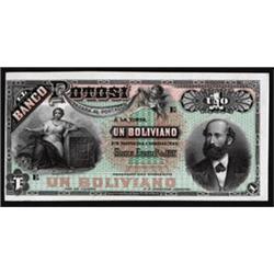 El Banco Potosi Proof Banknote With 3 Colleagues.