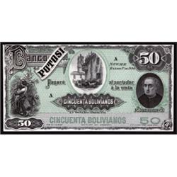 El Banco Potosi Trial Color Uniface Specimen Banknotes.