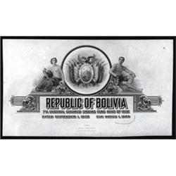 Republica of Bolivia Proof Bond Title and Vignette.
