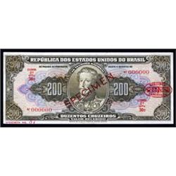 Republica Dos Estados Unidos Do Brasil, 1949-50 Estampa 2A Specimen Banknote.