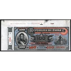 Republica De Chile Specimen Banknote.
