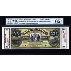 Banco De Chile Specimen Banknote.