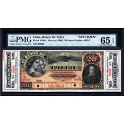 El Banco De Talca Specimen Banknote.