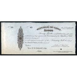 Republic of Chili Treasury Bill Specimen.