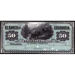 Banco De Colombia 1875-1881 Issue Proof.
