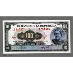 Banco De La Republica - Unique Essay Banknote Model of Proposed 1963 Issue Banknote.