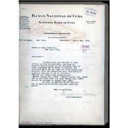 Banco Nacional De Cuba Unique Correspondence File From ABNC Archives.