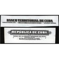 Republica De Cuba Proof Titles From Bonds and Stocks.