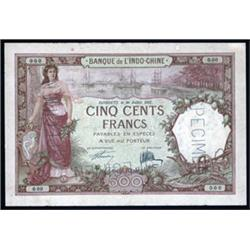 Banque De L'Indo-Chine Specimen Banknote