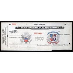 Banco Nacional De Santo Domingo, Depositario Designado, Specimen Customs Check.