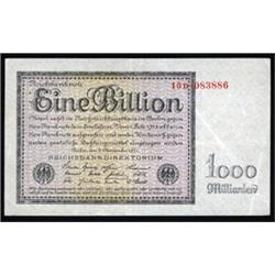 Reichsbanknote - Republic Treasury Notes, 1923 Ninth Issue.