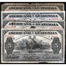 El Banco Americano De Guatemala Banknote Assortment.