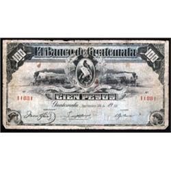 El Banco De Guatemala Banknote Unlisted Date Variety.