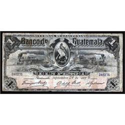 Banco de Guatemala, Sucursal Quezaltenango Issued Banknote.
