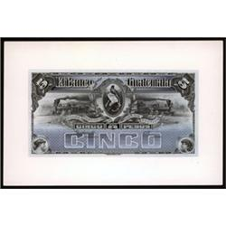 El Banco Guatemala, 1895-1926 Issue Proof with Matching Vignette.