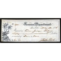 Hawaiian Treasury, Finance Department Payment Receipt.