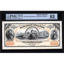 The King of Hawaiian Banknotes, Kingdom of Hawaii, Certificate of Deposit Face Proof.