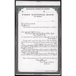 First National Bank of Hawaii Proof Travelers Letter of Credit.
