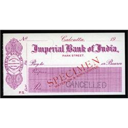 Imperial Bank of India Specimen Check.