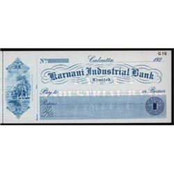 Karnani Industrial Bank, Ltd, Specimen Check