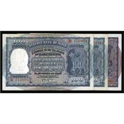 Reserve Bank of India, First Series Banknote Trio.