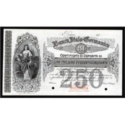 Banca Italo-Germanica Specimen Banknote.