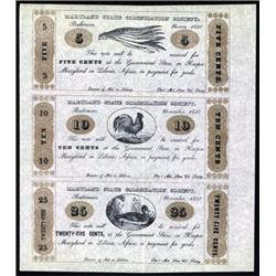 Maryland State Colonization Society Uncut Sheet of 3 Notes, 1837 Reprint Issue.