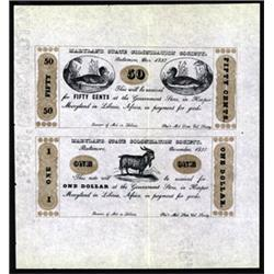 Maryland State Colonization Society Uncut Sheet of 2 Notes, 1837 Reprint Issue.