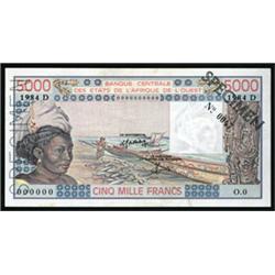 Banque Centrale Des Etats De L'Afrique De L'Ouest Specimen Banknote.