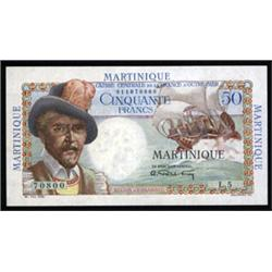 Caisse Centrale De La France d' Outre Mer - Martinique, Issued Banknote.