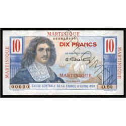 Caisse Centrale De La France D'Outre-Mer Specimen Banknote.