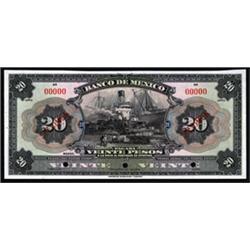 Banco De Mexico Specimen Banknote Pair.