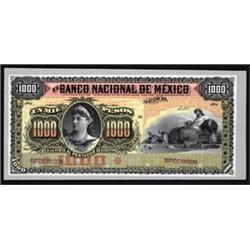 El Banco Nacional De Mexico, 1885-1913 Issue Proof.