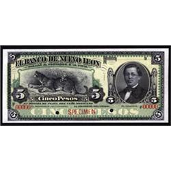 El Banco De Nuevo Leon, Specimen Banknote.