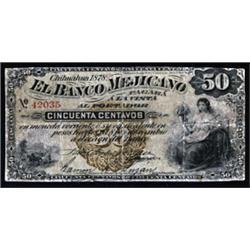 El Banco Mejicano, 1878 Issue.
