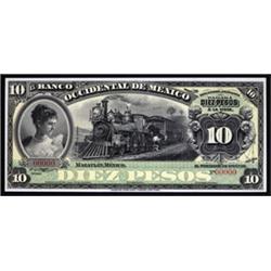 El Banco Occidental De Mexico, 1898-1913 Issue, Proof banknote.