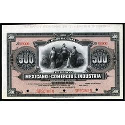 Bono De Caja, El Banco Mexicano De Comercio E Industria Specimen Banknote.
